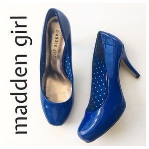 Madden Girl Blue Patent Getty Style Pumps